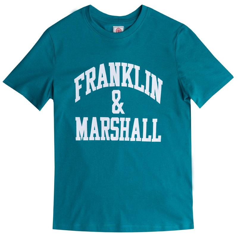 Tričko Franklin And Marshall Junior Boys F&M Logo Crew T-Shirt Teal