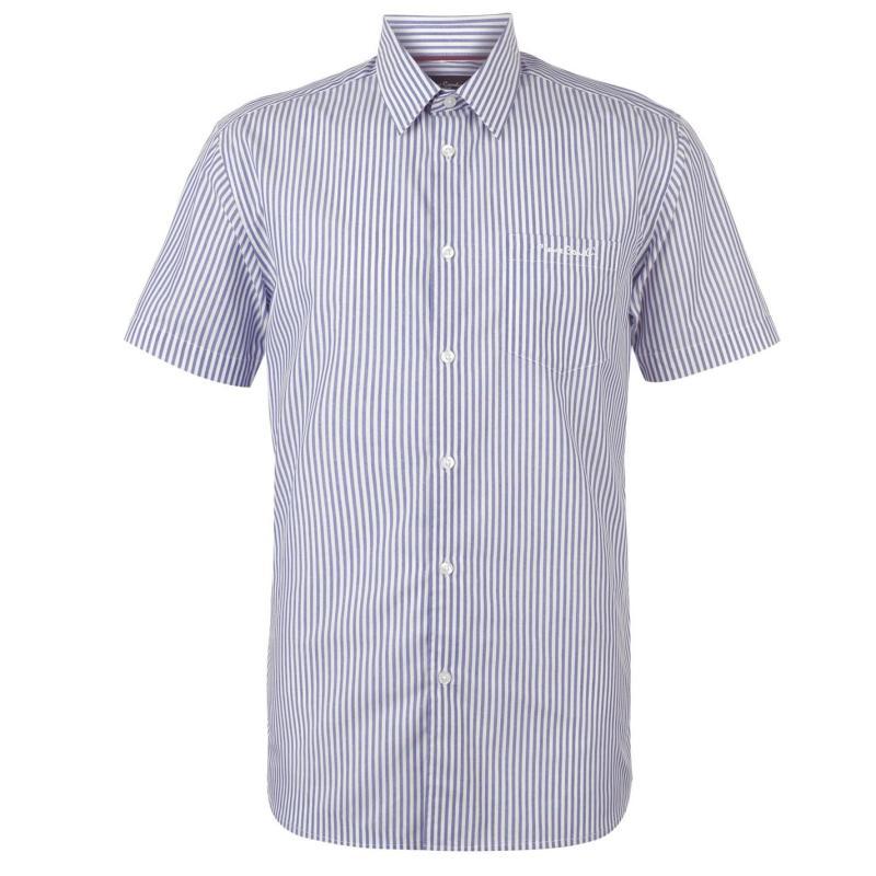 Pierre Cardin Short Sleeve Shirt Mens Navy/Wht Str