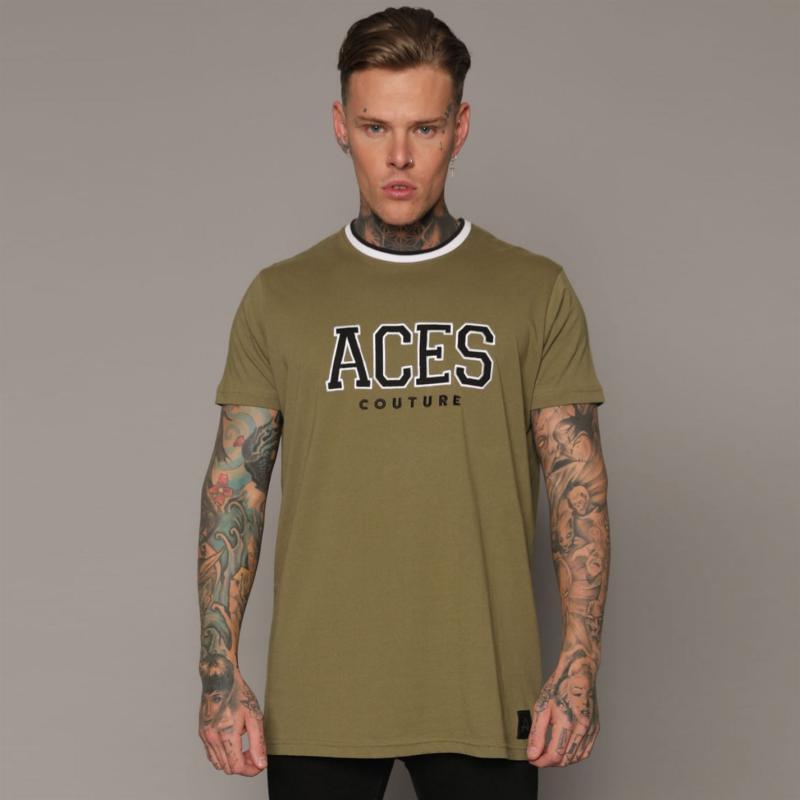 Tričko Aces Couture College T Shirt Mens Khaki