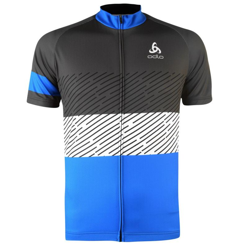 Odlo Mens Active Short Sleeve Cycling Jersey Black/Blue