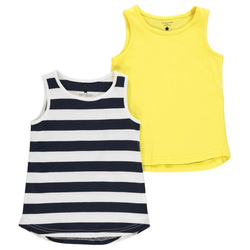Crafted 2 Piece Jersey Vests Infant Girls Navy Lemon