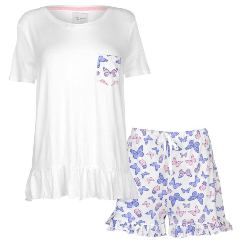 Pyžama Rock and Rags Womens Butterfly Shorts Pyjama Set Butterfly