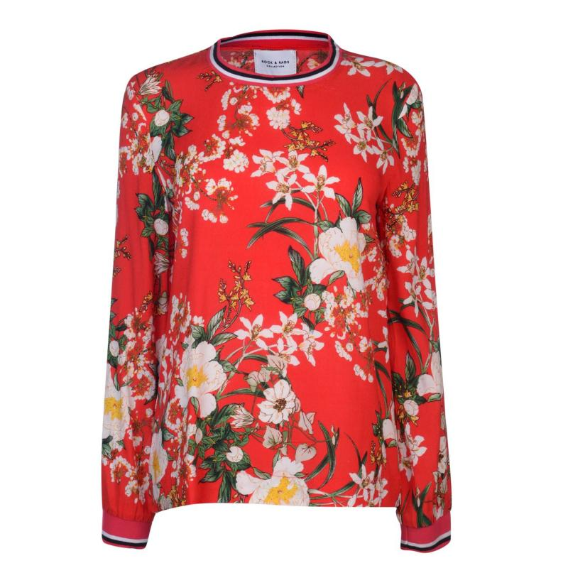 Košile Rock and Rags Womens Ribbed Trim Blouse Orange Floral