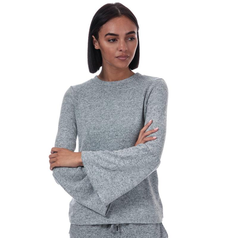Brave Soul Womens Brushed Fluted Sleeve Lounge Top Grey Marl
