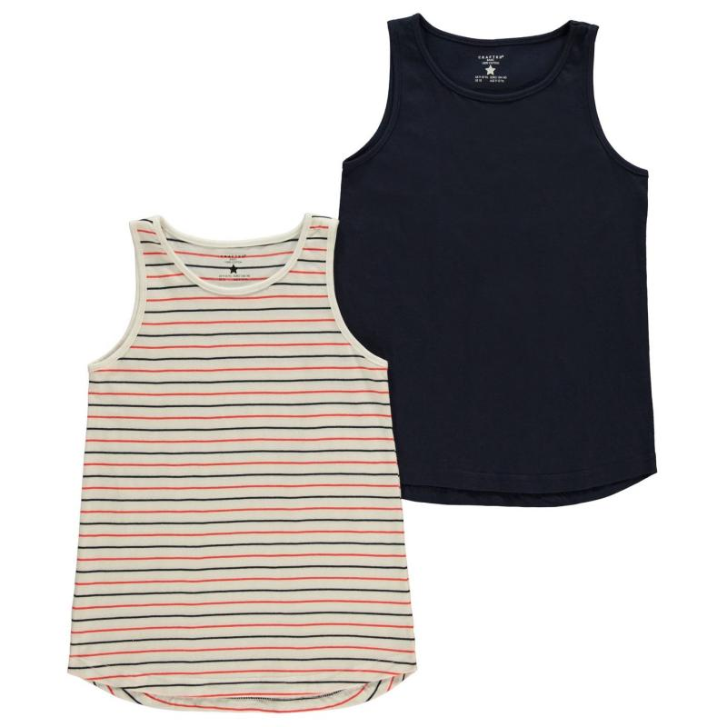 Crafted 2 Piece Jersey Vest Junior Girls Navy Stripe