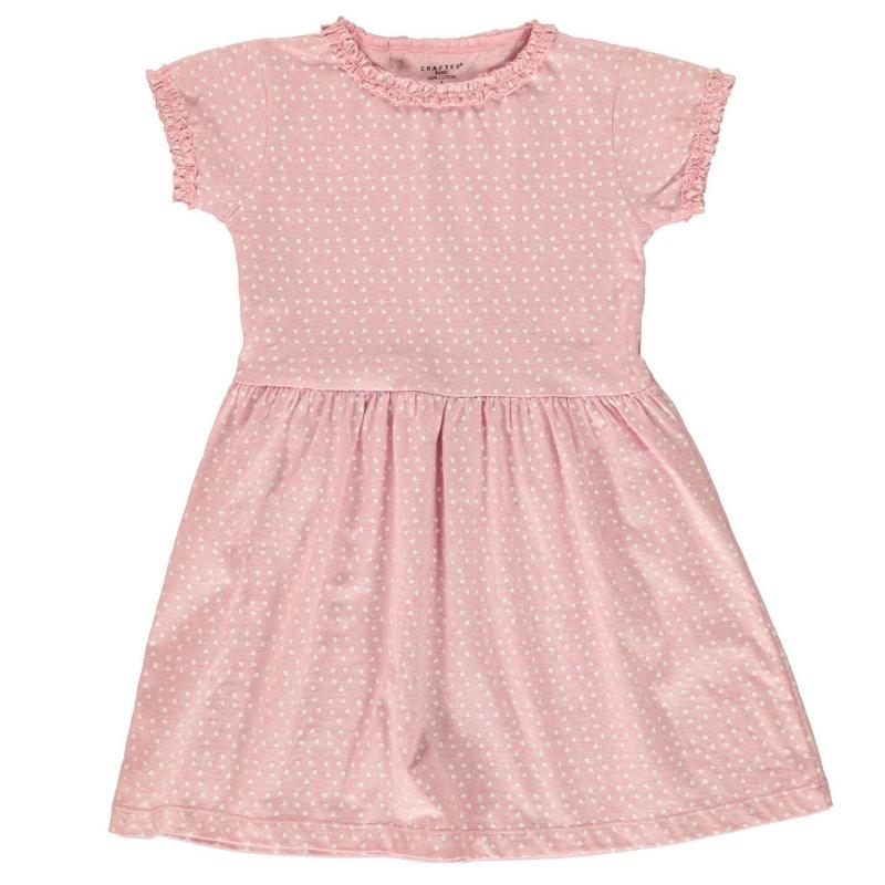 Šaty Crafted Jersey Dress Infant Girls Pink Marl