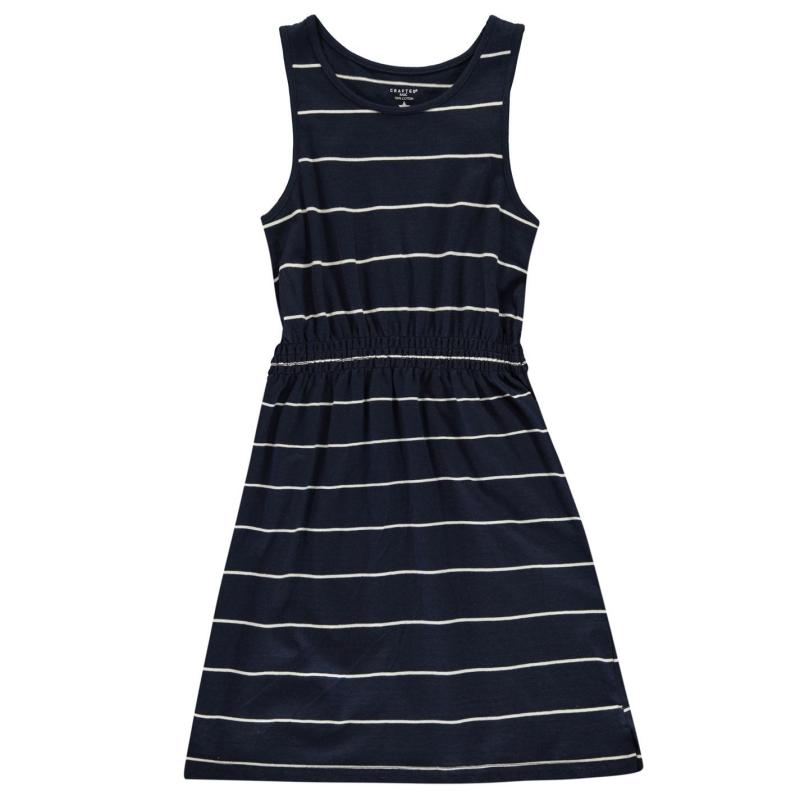 Šaty Crafted Junior Girls Jersey Dress Navy Stripe