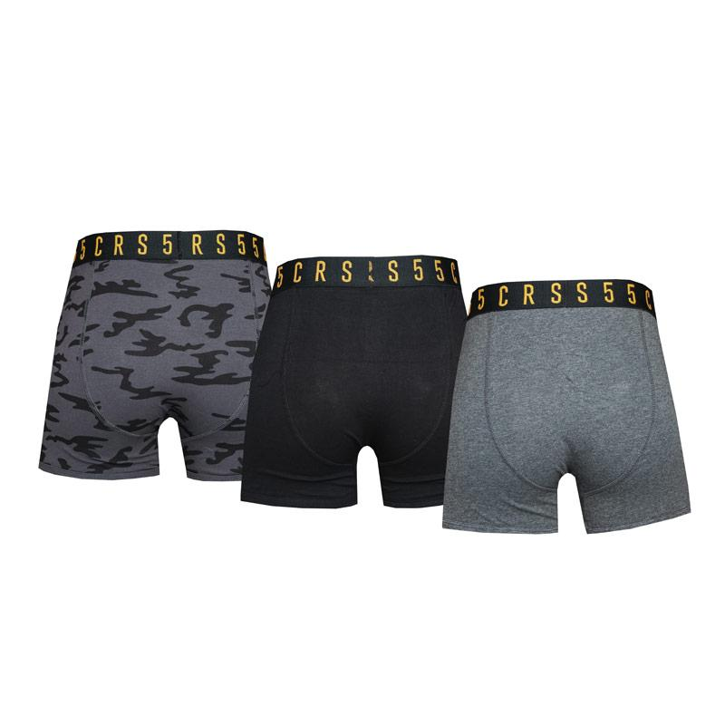 Spodní prádlo Crosshatch Mens 3 Pack Rhossili Boxer Shorts Grey