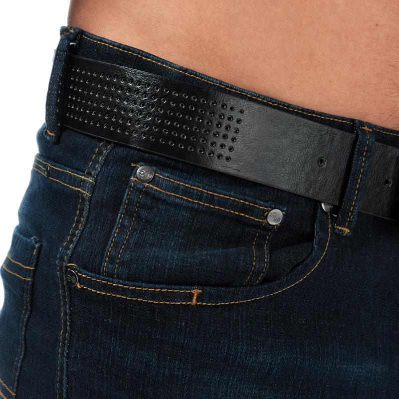 Crosshatch Black Label Mens Yankton Denim Belted Shorts Black