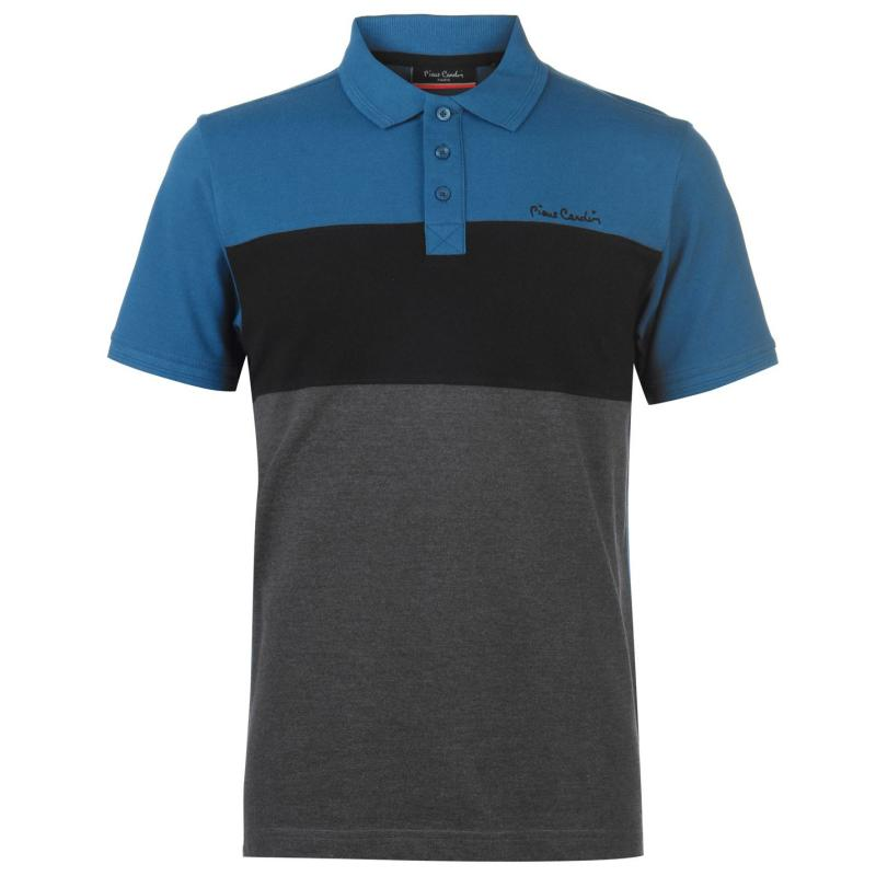 Pierre Cardin Cut And Sew Polo Shirt Mens Grey M/Burg