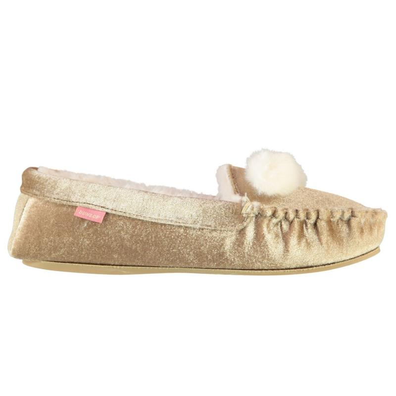Dunlop Anouska Moccasin Ladies Slippers Champagne