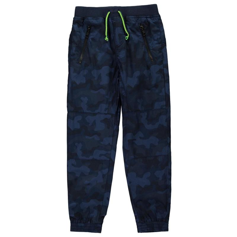 Kalhoty Crafted Essentials Essential Young Boy's Camo Trousers Navy Camo