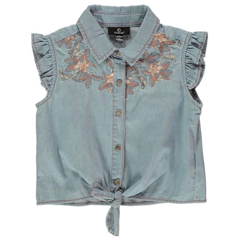 Firetrap Embroidered Shirt Junior Girls Femme Floral
