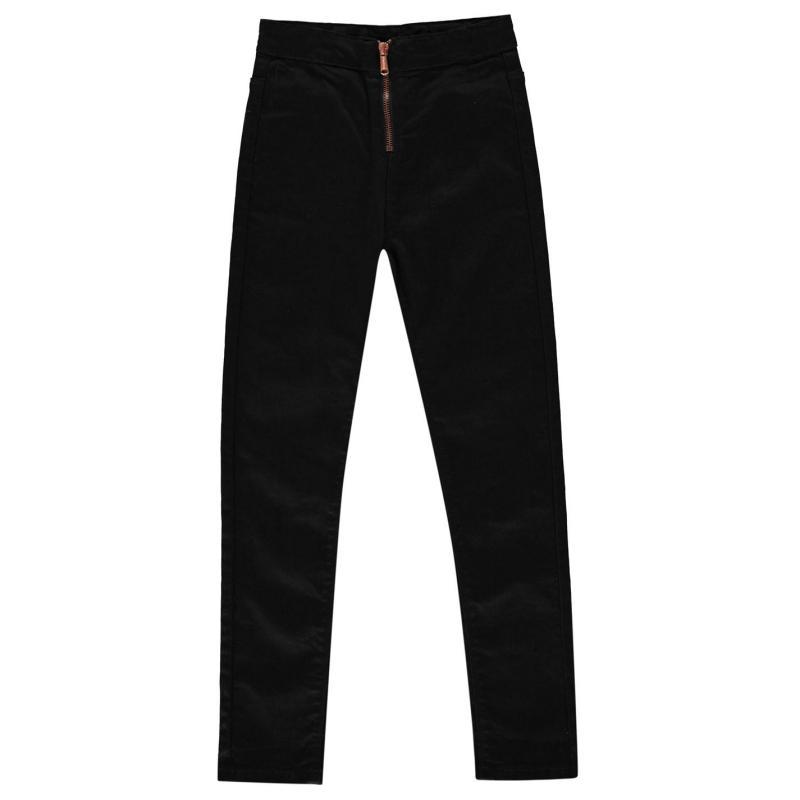 Firetrap High Waisted Zip Jeans Junior Girls Black