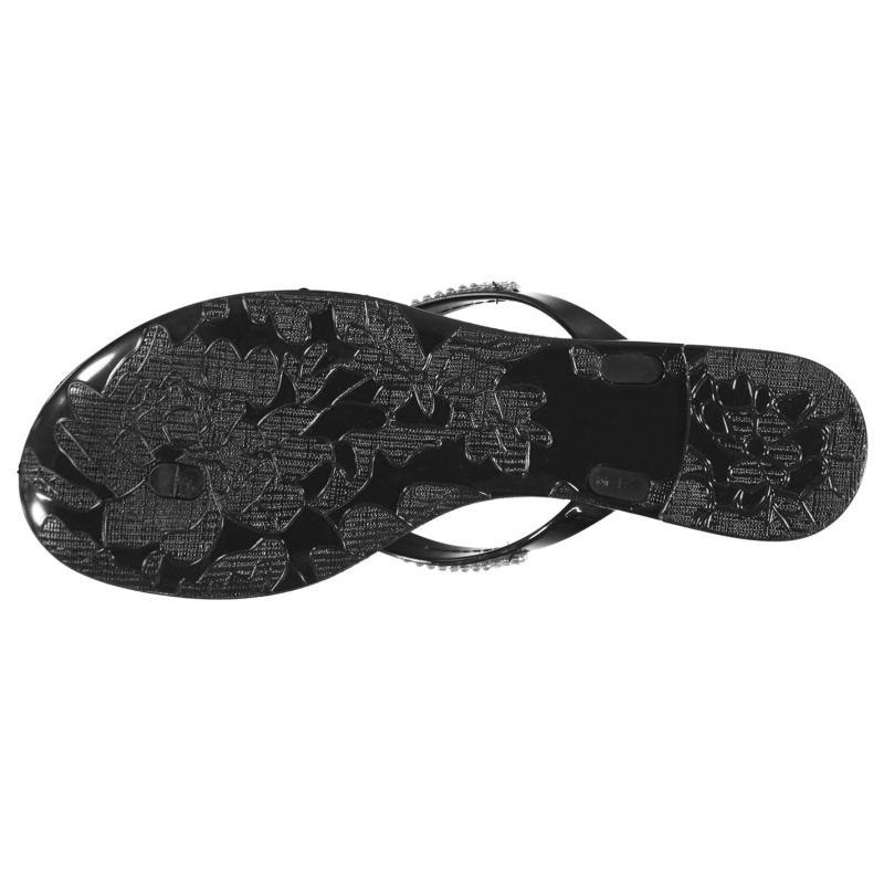 Boty Miso Womens Jelly Bow Sandals Black Diamante