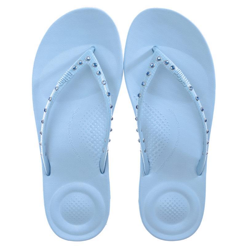 Boty Fit Flop Womens iQushion Crystal Ergonomic Flip Flops Blue
