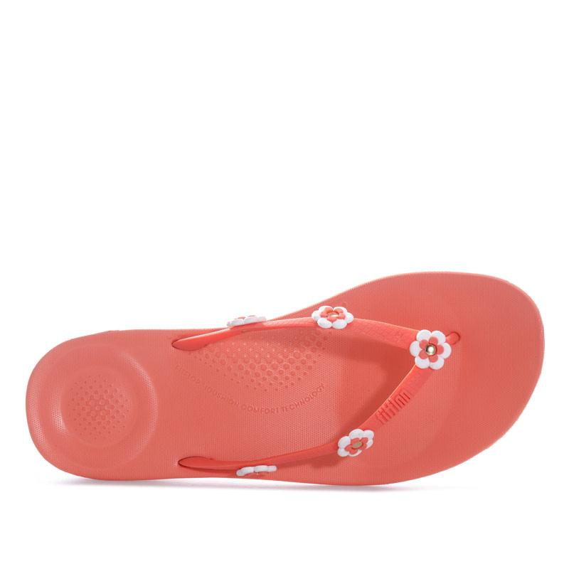 Boty Fit Flop Womens iQushion Flower Stud Ergonomic Flip Flops Coral