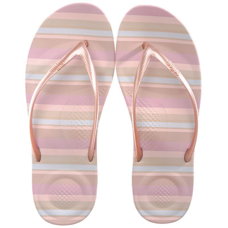 Boty Fit Flop Womens iQushion Stripey Ergonomic Flip Flops Nude