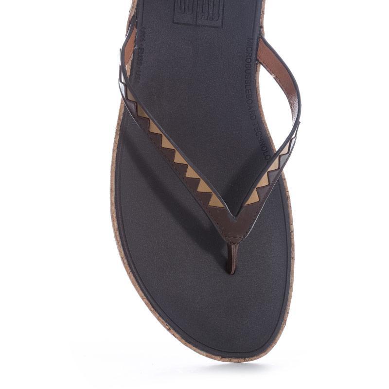 Boty Fit Flop Womens Linny Zig Zag Mirror Toe Thong Sandals Dark Brown