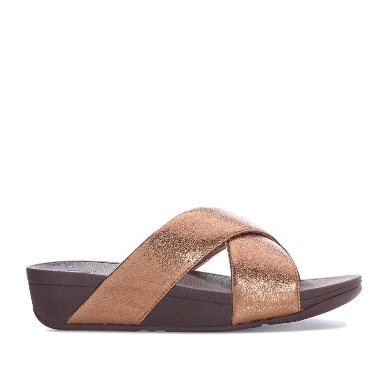 Boty Fit Flop Womens Lulu Molten Metal Slide Sandals Bronze