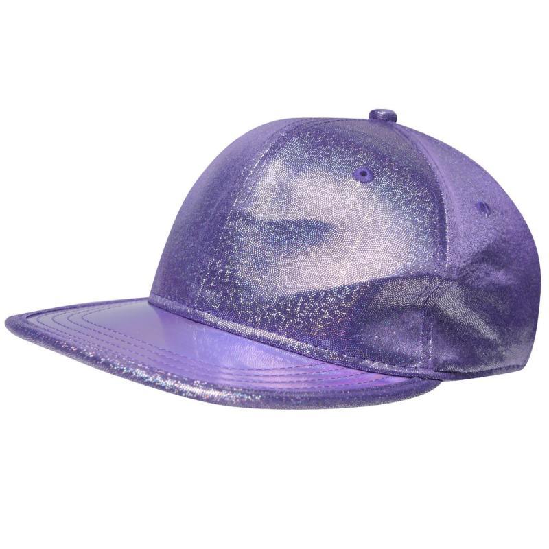 Crafted Bling Flat Peak Cap Junior Girls Purple