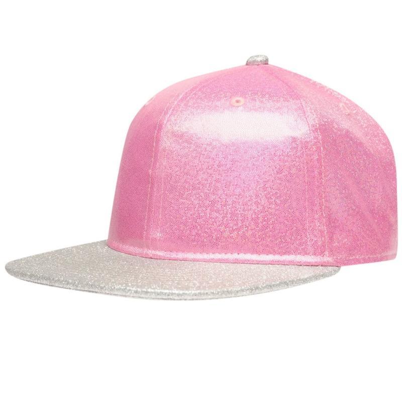 Crafted Bling Flat Peak Cap Junior Girls Pink