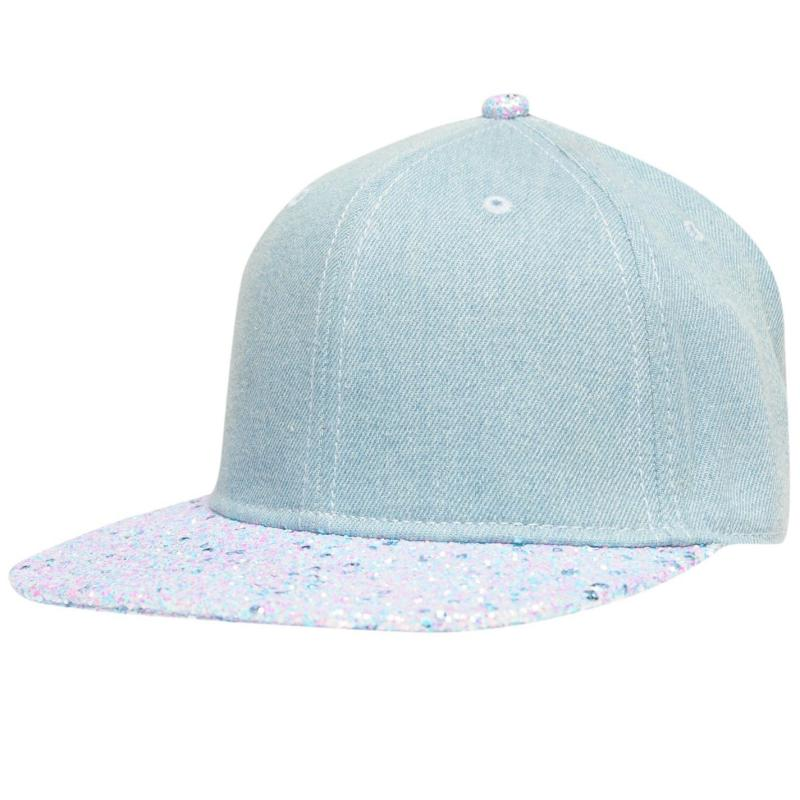 Crafted Bling Flat Peak Cap Junior Girls Denim Seq