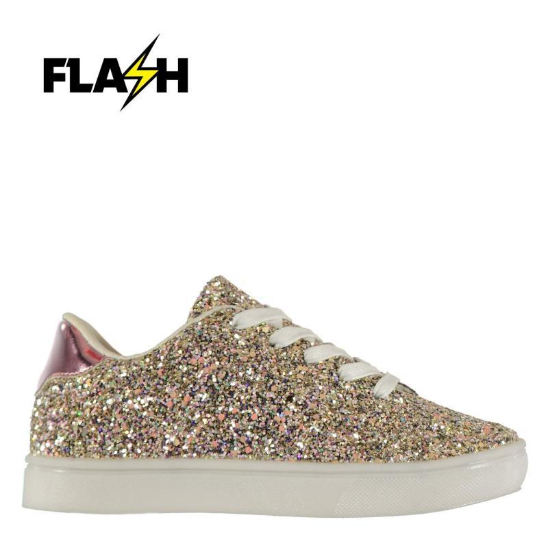 Fabric Flash Glittery Girls Trainers Glitter
