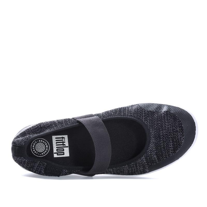 Fit Flop Womens Uberknit Mary Jane Ballerina Shoes Black Grey