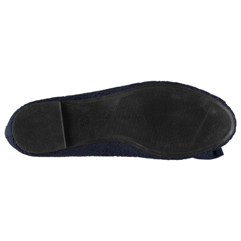 Full Circle Ladies Bow Slip On Shoes Navy