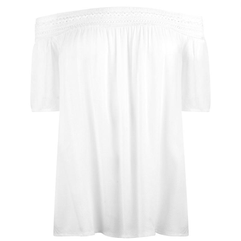 Tričko JDY Famous Short Sleeve Off Shoulder Top Cloud Dancer