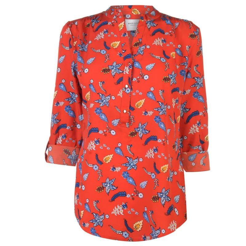 Košile Miso Printed Blouse Ladies Red/Blue