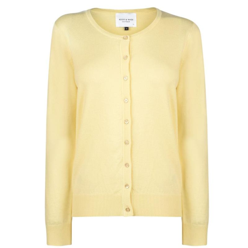 Svetr Miso Crew Cardigan Ladies Lemon