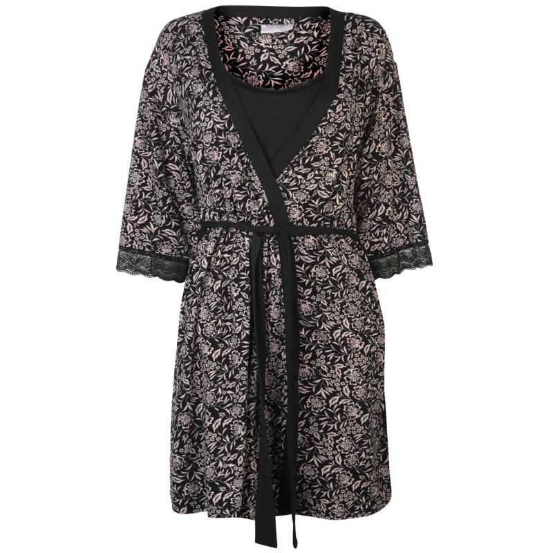 Pyžama Rock and Rags 2 Piece Gown Set Ladies Black