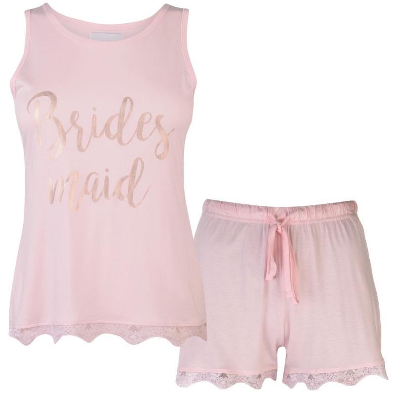 Pyžama Rock and Rags Bridal Short Pyjama Set Ladies Pink