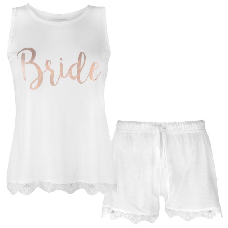 Pyžama Rock and Rags Bridal Short Pyjama Set Ladies White