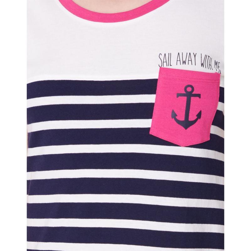 Pyžama Rock and Rags Sailor Nightdress Ladies Navy/Pink