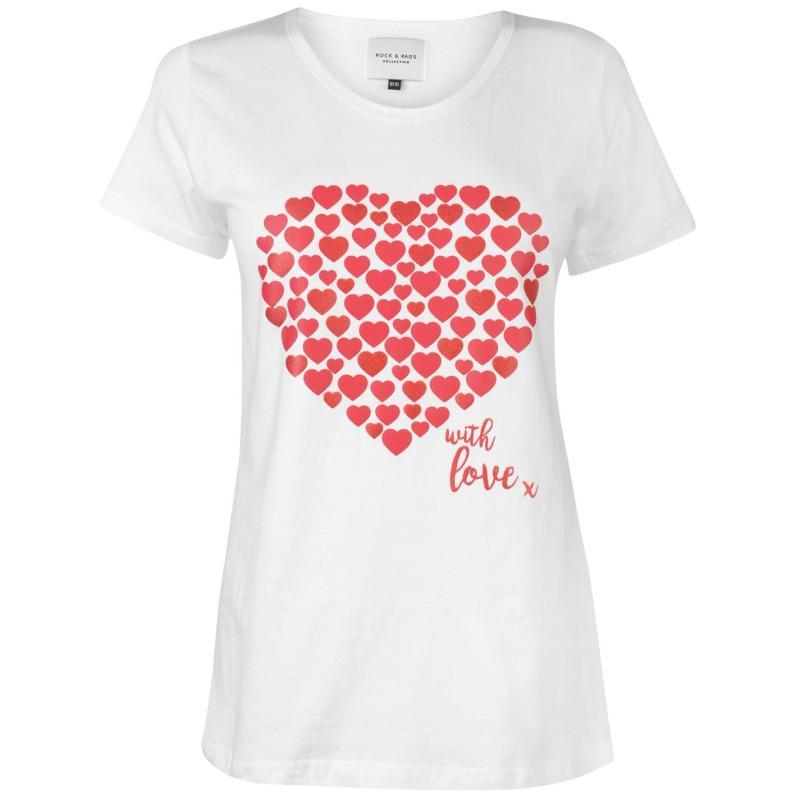 Pyžama Rock and Rags Short Pyjama Set Ladies Lovehearts