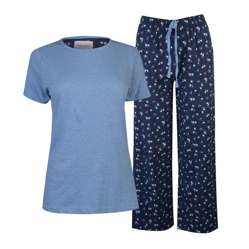 Pyžama Rock and Rags Table Pyjama Set Ladies Navy Ditsy