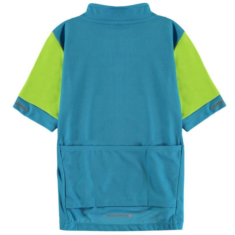 Tričko Muddyfox Short Sleeve Cycling Jersey Junior Boys Blue/Green