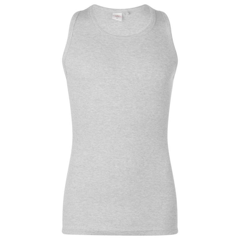 Tílko Lee Cooper Essential Rib Vest Mens Grey Marl