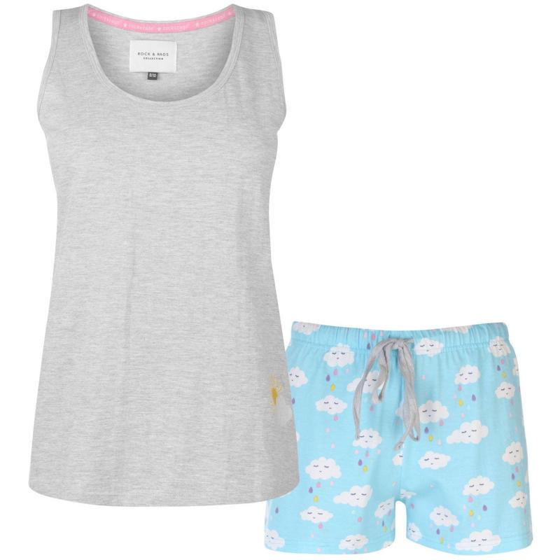 Pyžama Rock and Rags Vest Shorts Set Ladies Blue Clouds