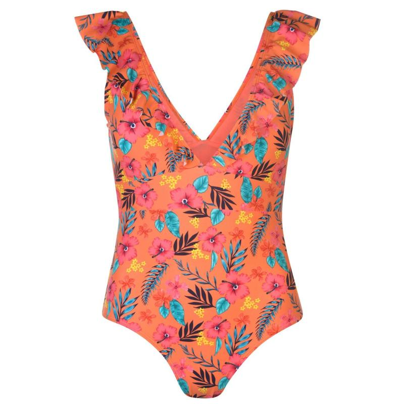 Plavky SoulCal Frill Swimsuit Ladies Floral