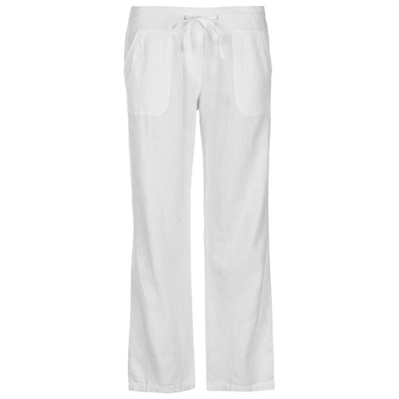 Kalhoty Full Circle Linen Trousers Ladies White