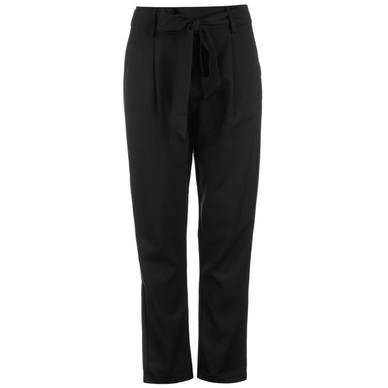 Kalhoty Glamorous Tie Waist Trousers Black