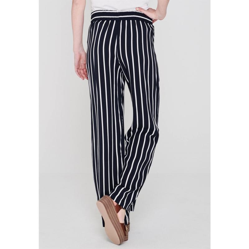 Kalhoty JDY Wide Pants Navy/Wht Stirpe