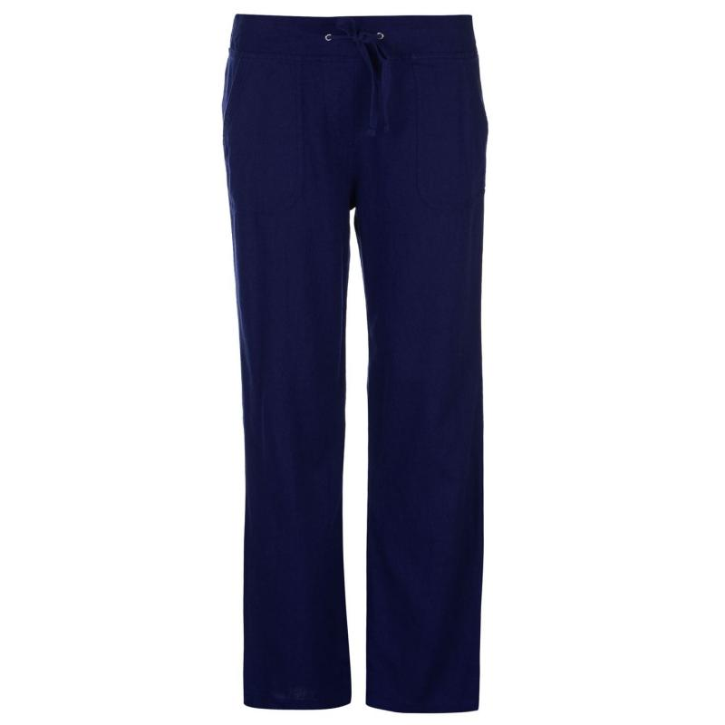 Kalhoty Full Circle Linen Trousers Ladies Navy