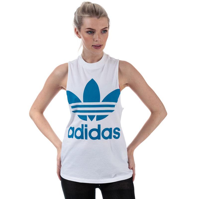 Adidas Originals Womens Trefoil Tank Top White blue