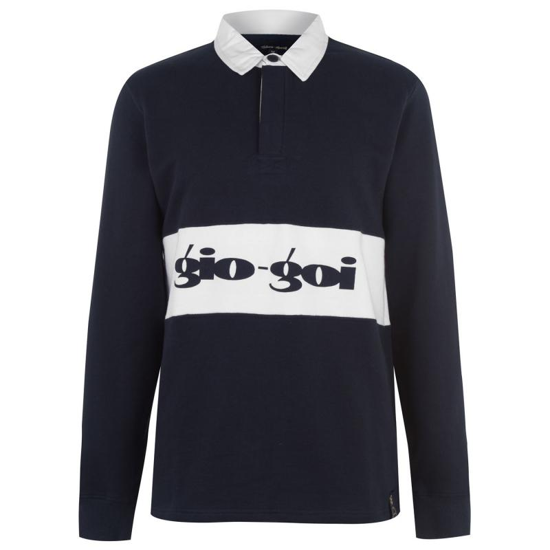 Gio Goi Mens Rugby Polo Navy