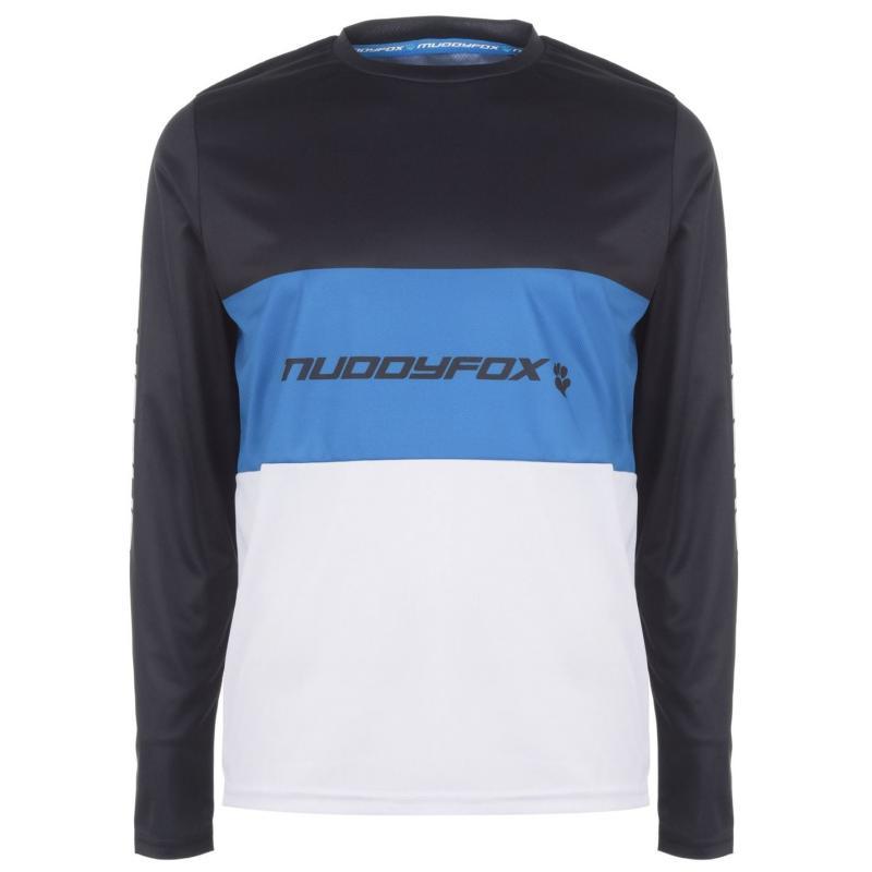 Muddyfox Moto Jersey Long Sleeve Mens Black/Blue